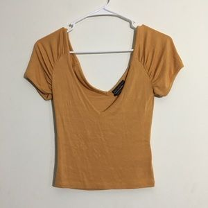 Urban Outfitters Mustard Colored Stretchy Crop Top